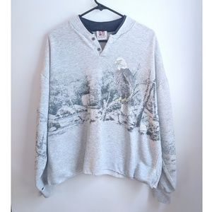 Vintage Grunge/Distressed Bald Eagle Sweatshirt